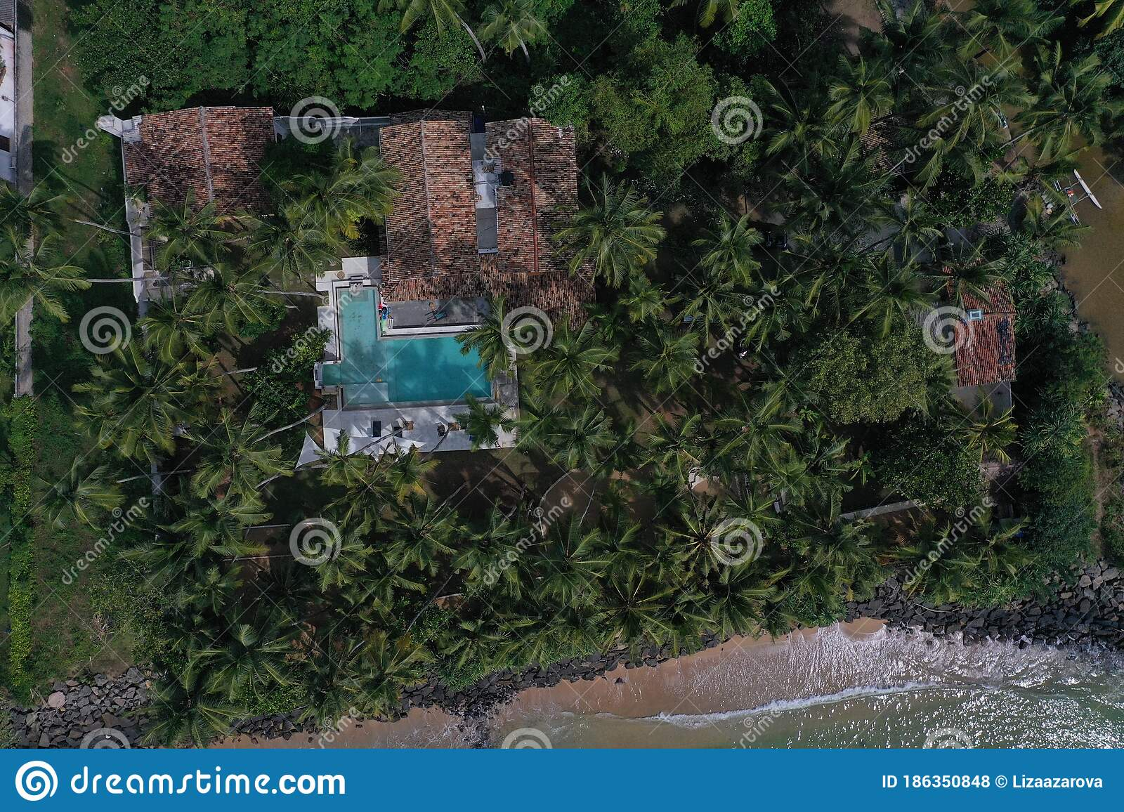 Aerial Drone Bird View Shot Of The Sea Shore With