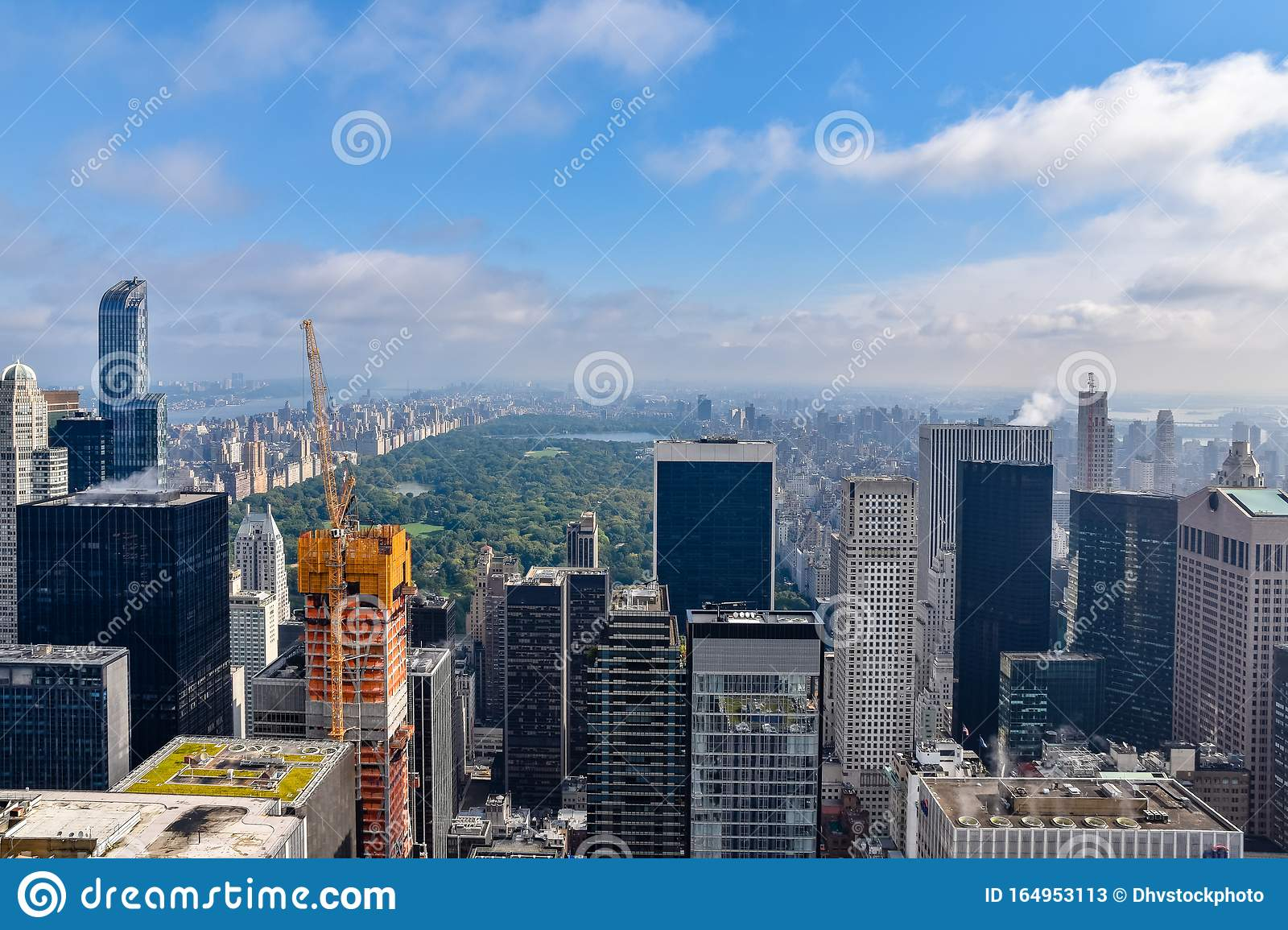 Aerial View Of New York With Skyscrapers Buildings In