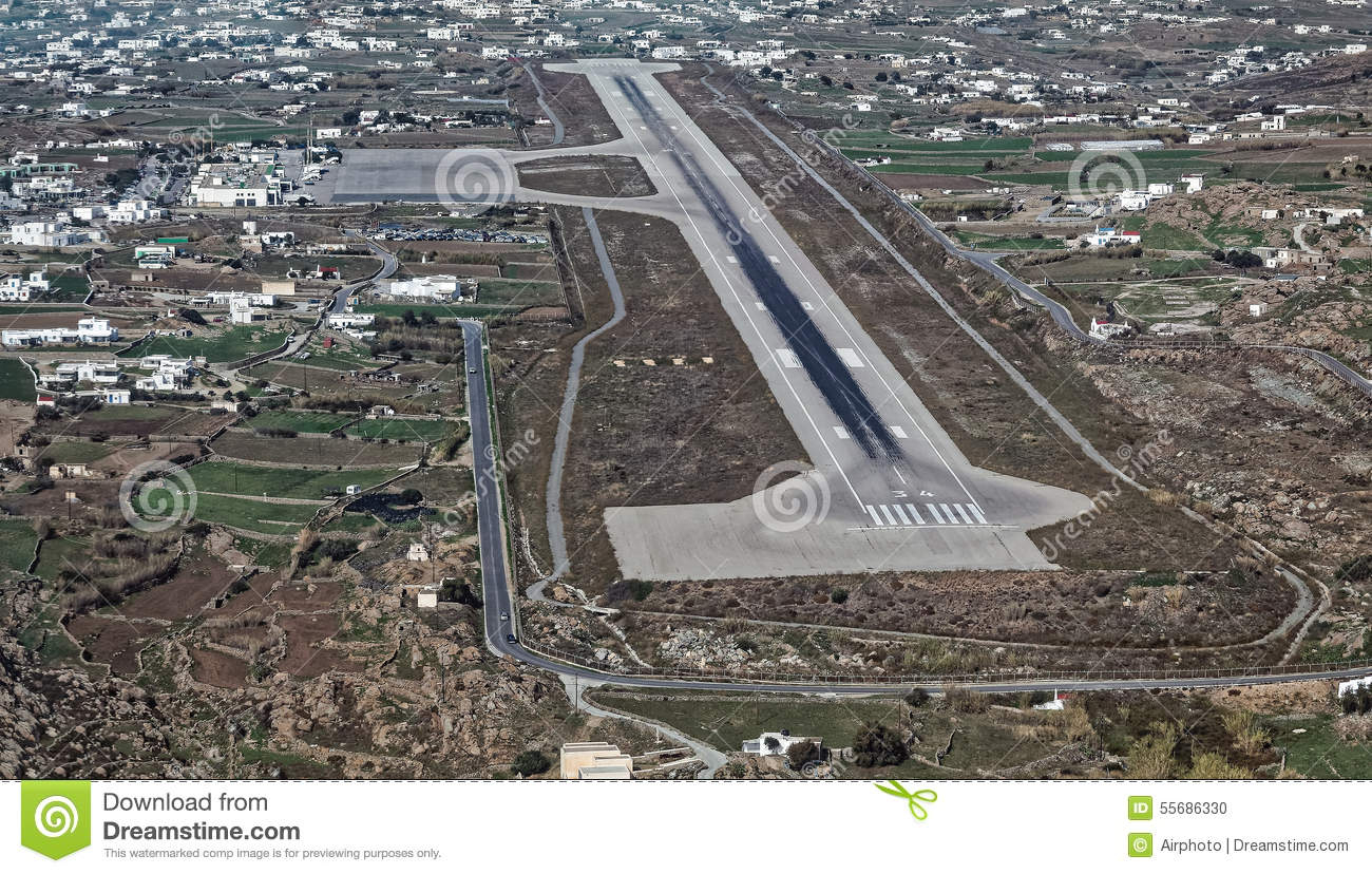 Aerial View Of The Airport In Mykonos Island Greece Stock