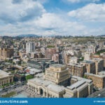 Aerial View To Yerevan City Center At Sunny Day Stock