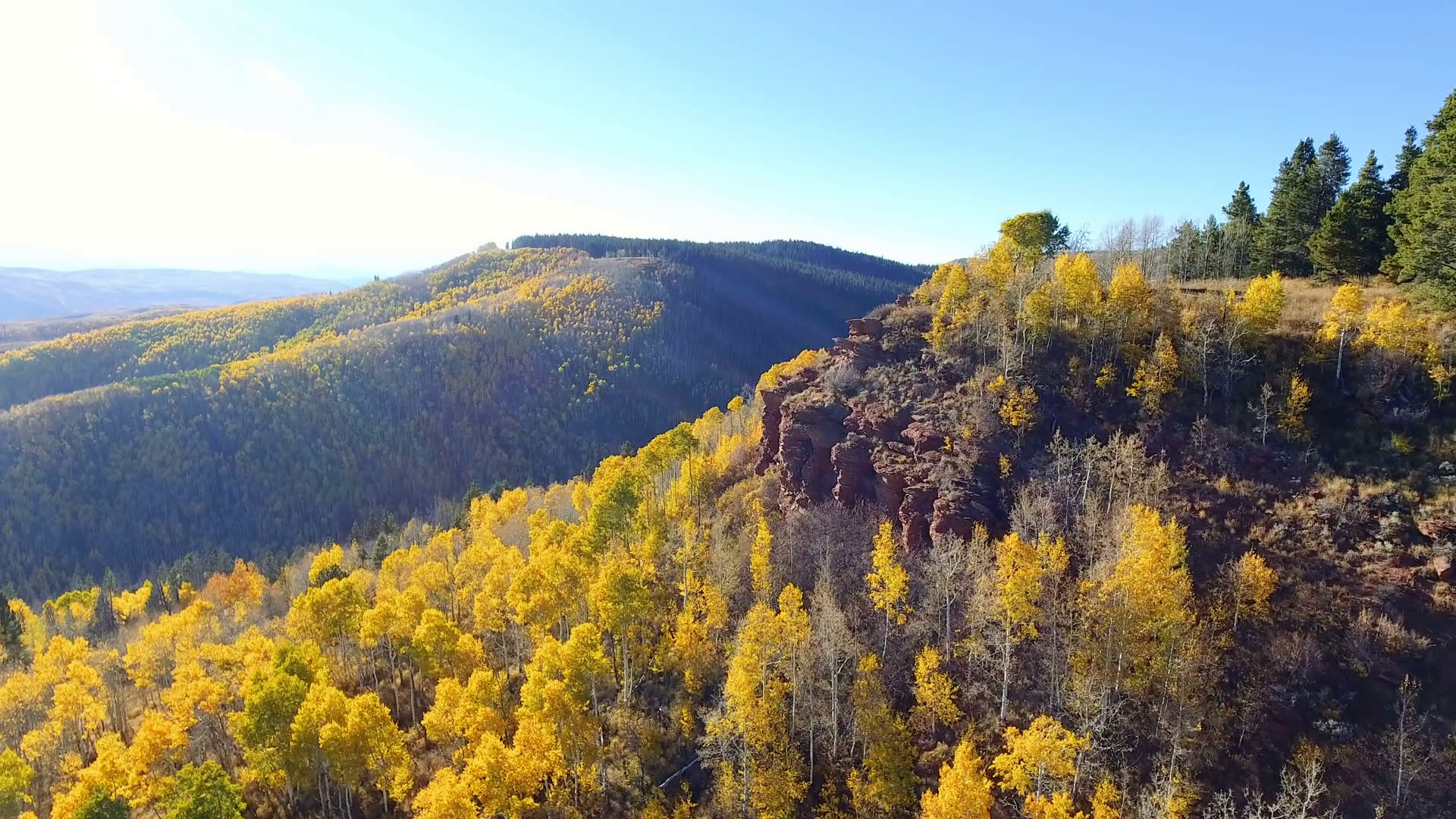 Flying Past A Cliff Surroundedfall Foliage In Autumn
