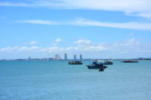 Sea View And Small Boat At The Fishing Pier Stock Image