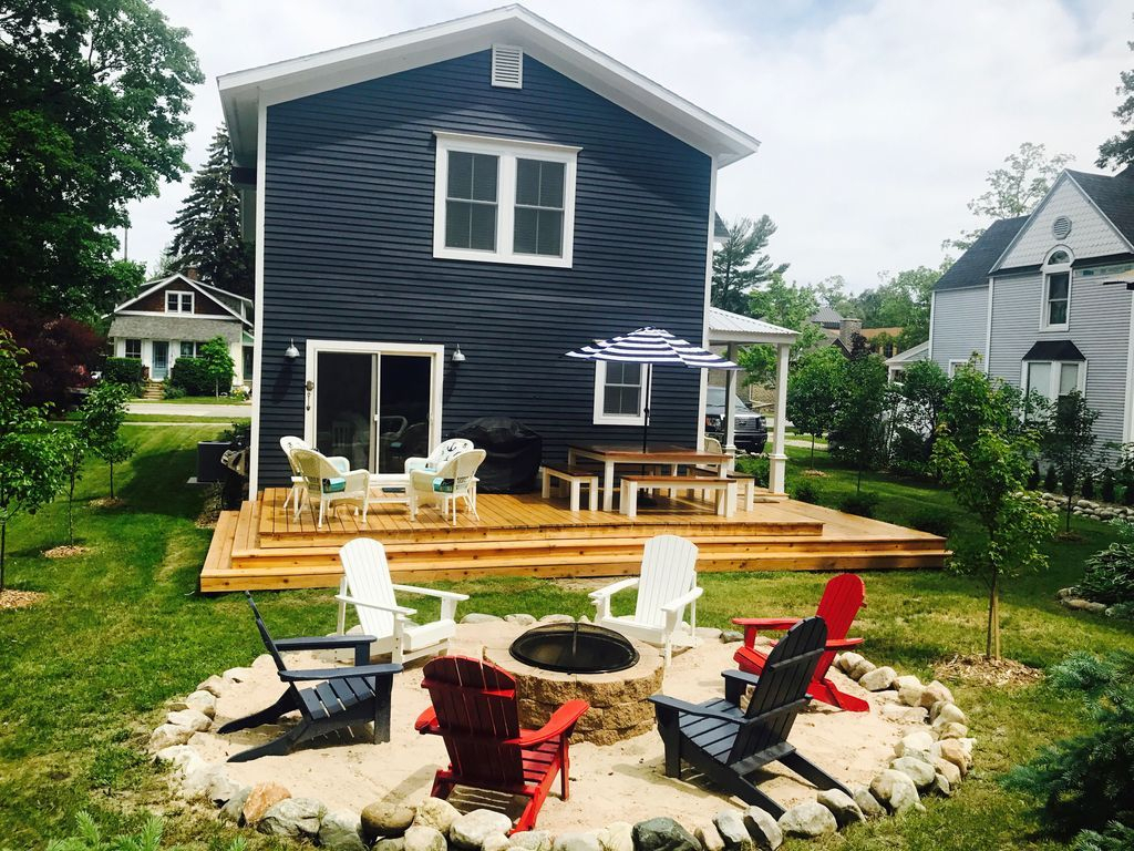 Vrbo 1036725 Charlevoix Mi Fire Pit With Adirondacks With