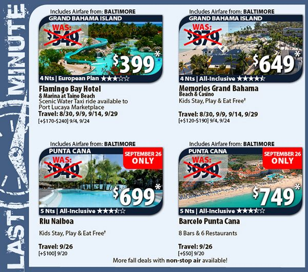 Last Minute Travel Deals Airfare From Baltimore  Last