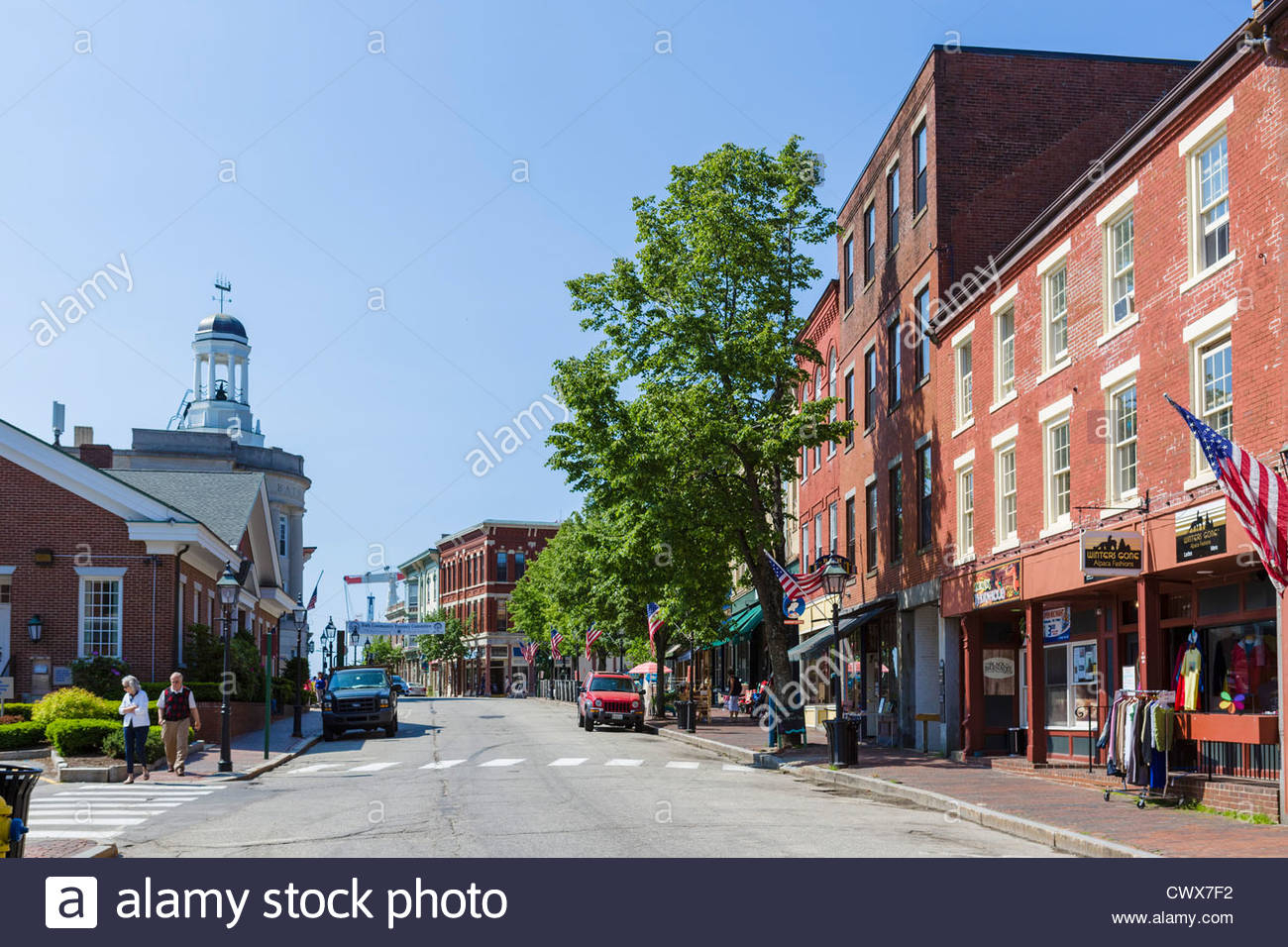 View Down Front Street In The Historic Town Of Bath Maine